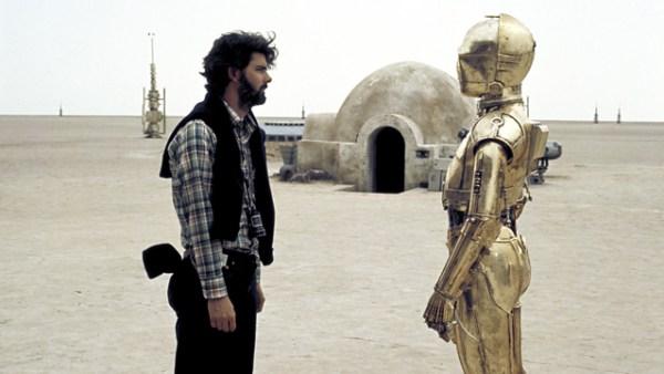 George Lucas en el set de Star Wars en 1977