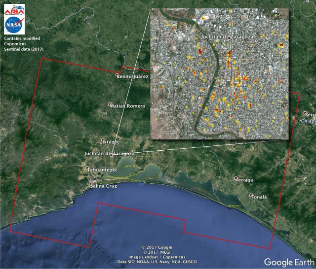 Mapa creado por el Jet Propulsion Laboratory de la Juchitan, Oaxaca.