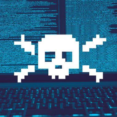 Una calavera al estilo pirata como signo de los Hackers