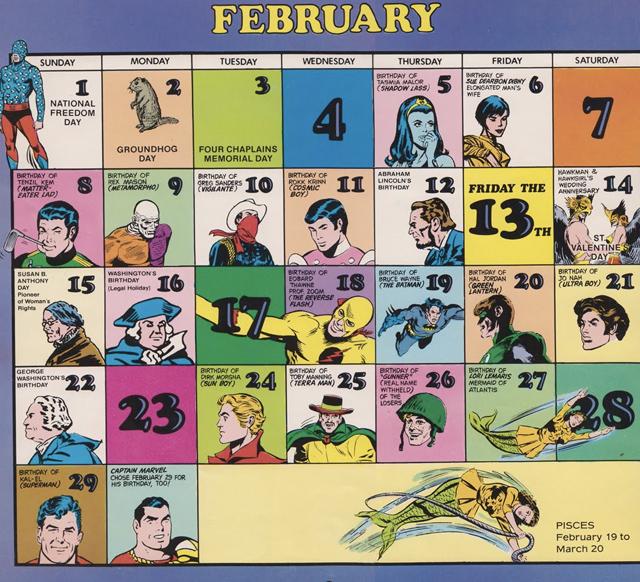 El calendario setentero de DC Comics.