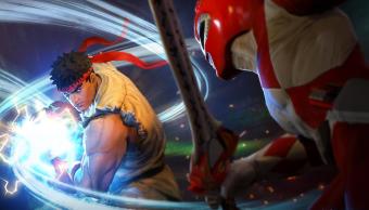 Ryu contra red Ranger en un juego de peleas