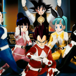 Un photoshop con los personajes de Power Rangers y Dragon Ball Z