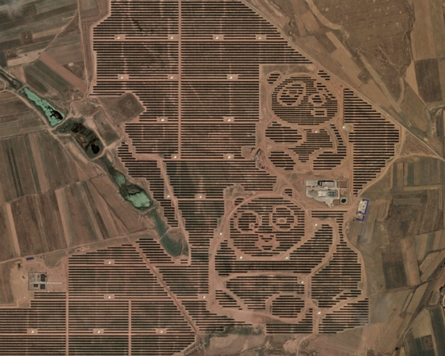 Construyeron una granja solar en China con forma de Panda