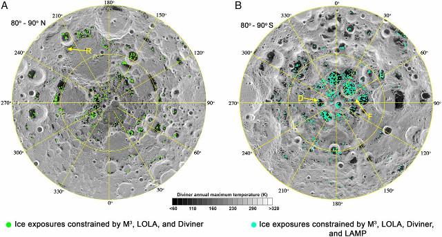 Hielo de agua en la luna