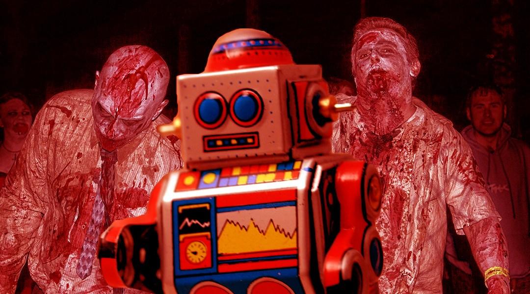 Un robot con unos zombies detrás