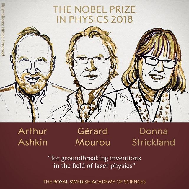 Arthur Ashkin, Gérard Mourou y Donna Strickland ganadores del Premio Nobel de Física 2018