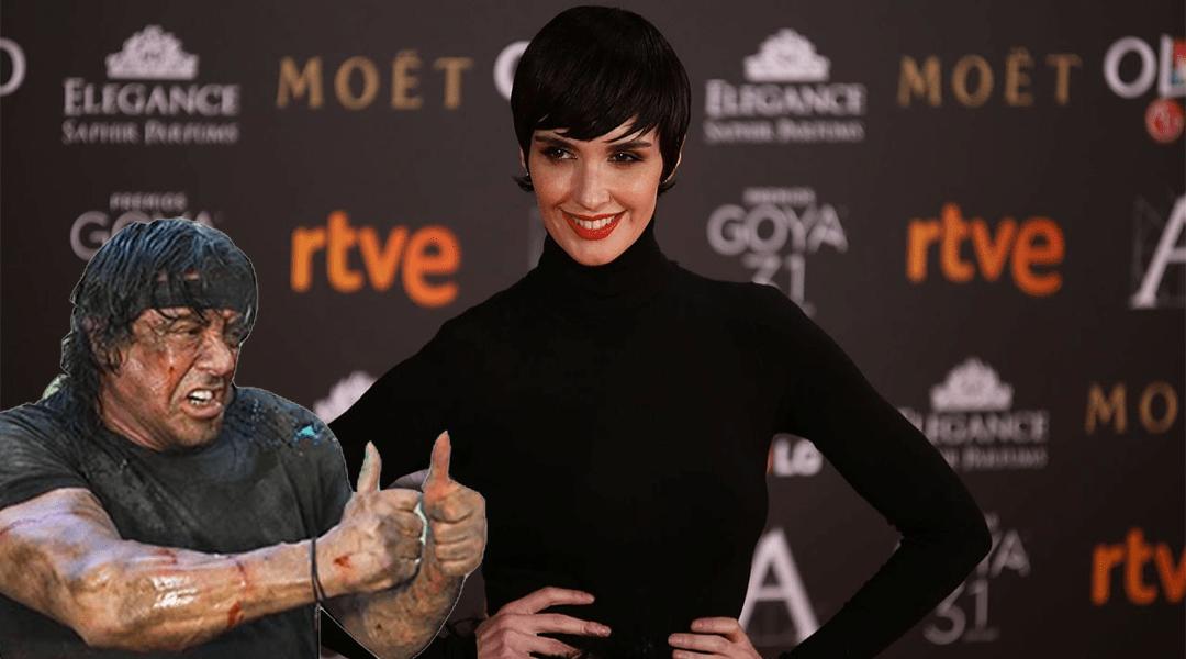 Paz Vega con Rambo en una premiacion