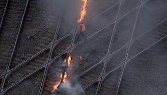 quemando vias en Chicago