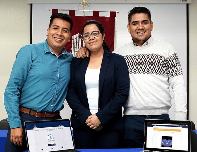 Ximena Fernanda Cortés Perales, Isaac Iván Aguirre Bahena y Sergio Martínez Ávila, alumnos de la Escuela Superior de Cómputo (ESCOM)