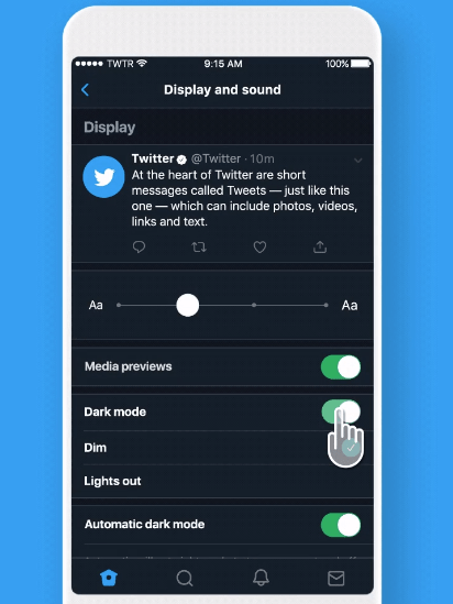 Twitter, Modo Oscuro, iOS, Activar