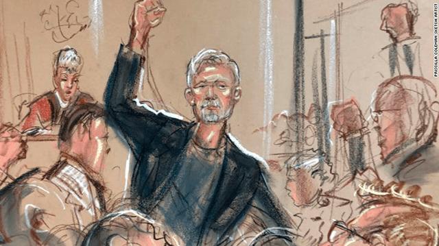 Sketch de Julian Assange en la corte (Priscila Colleman)