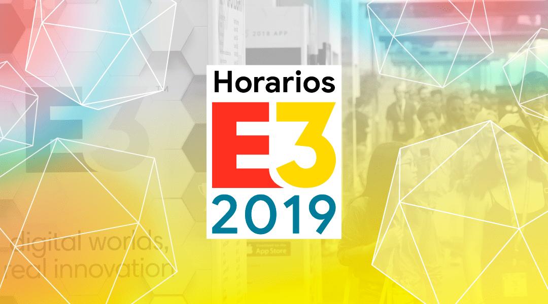 Logo del E3 con los horarios del evento