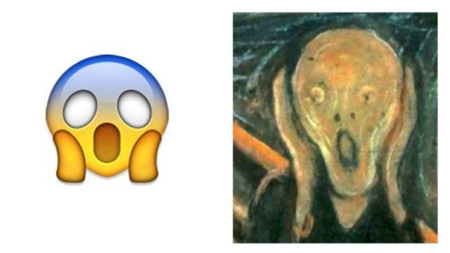 Emoji de grito y pintura el grito