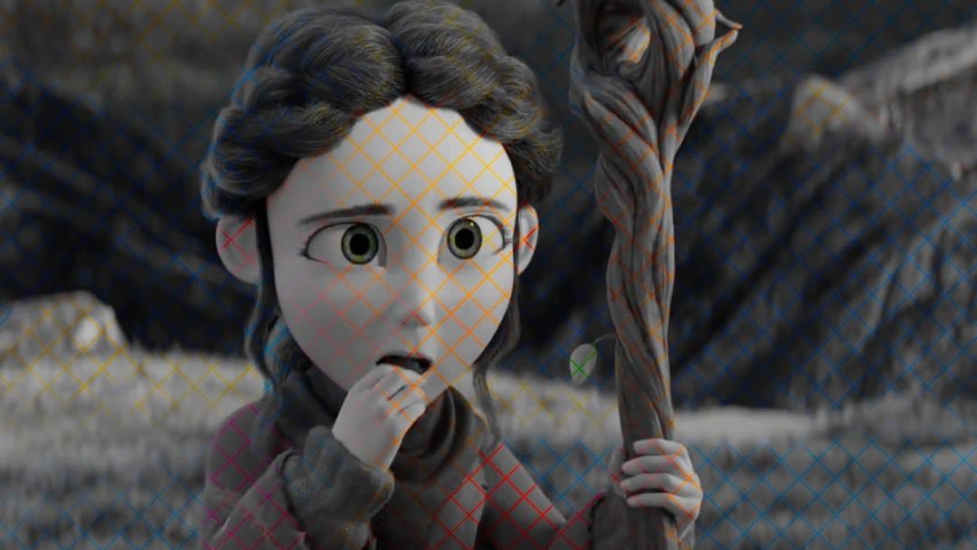 Animación de una niña con un bastón ilusión óptica
