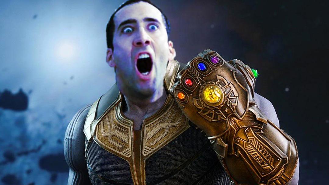 Thanos con la cara de Nicolas Cage
