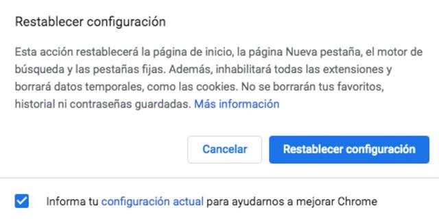 Captura de pantalla reiniciar Chrome a la configuración original