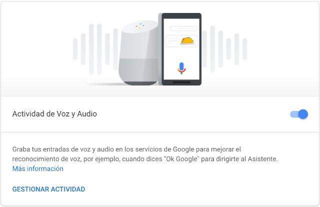 Captura de pantalla audio y voz en Google