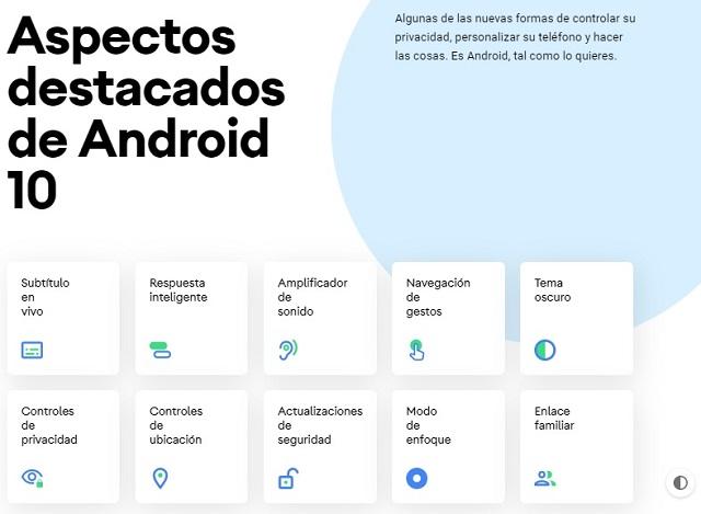 Características dle nuevo Android 10