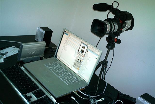 Un equipo de video para grabar un videochat