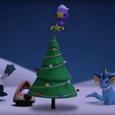 Pokemon celebrando la navidad