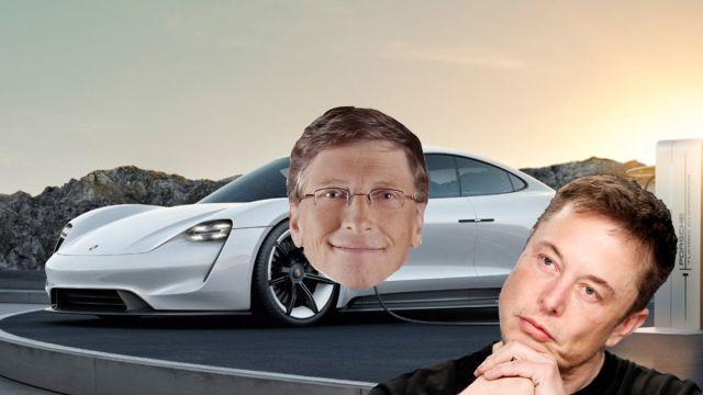 Elon Musk Bill Gates Porsche Taycan