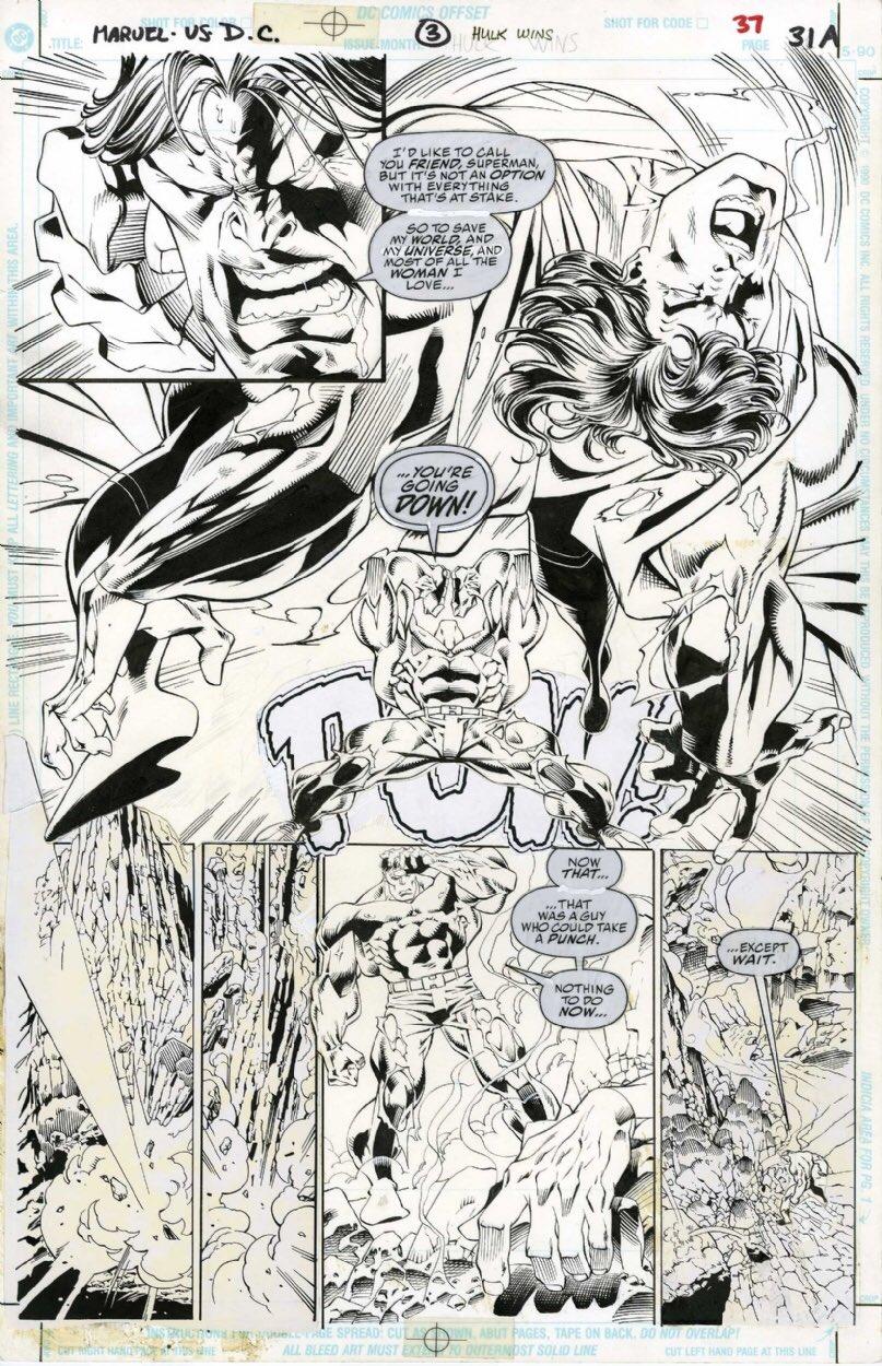 Hulk contra Superman en página no publicada por Marvel y Dc