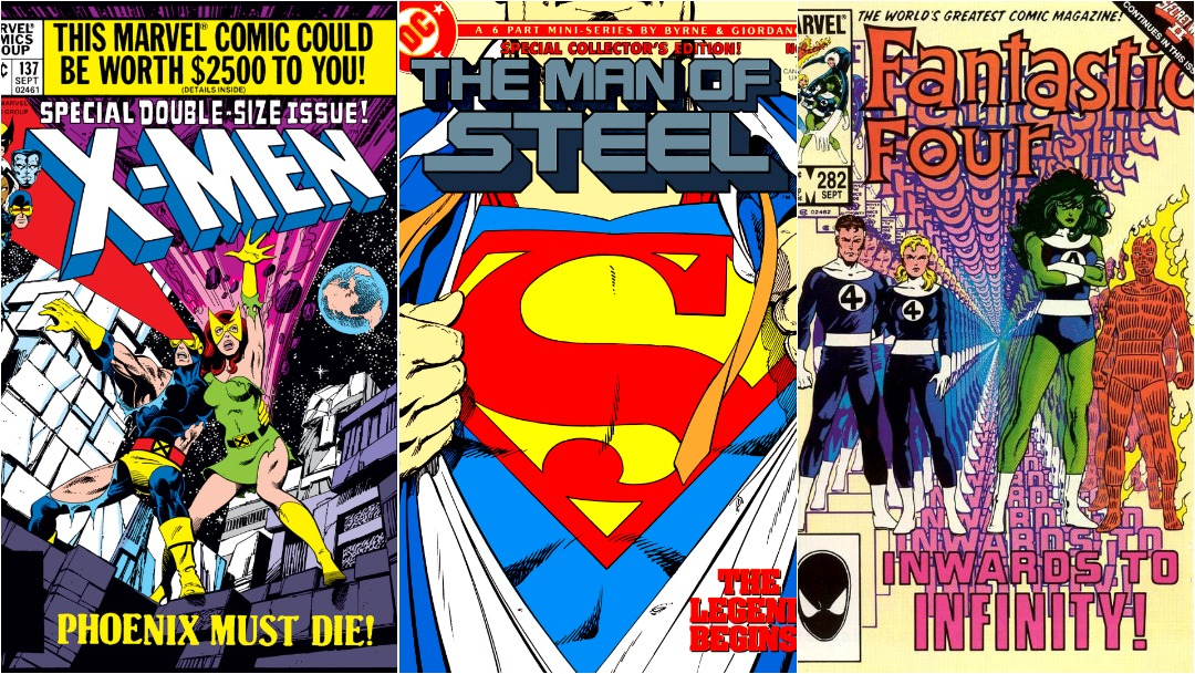 Cómics de John Byrne, Uncanny X-Men, Man of Steel, Fantastic Four, Portadas
