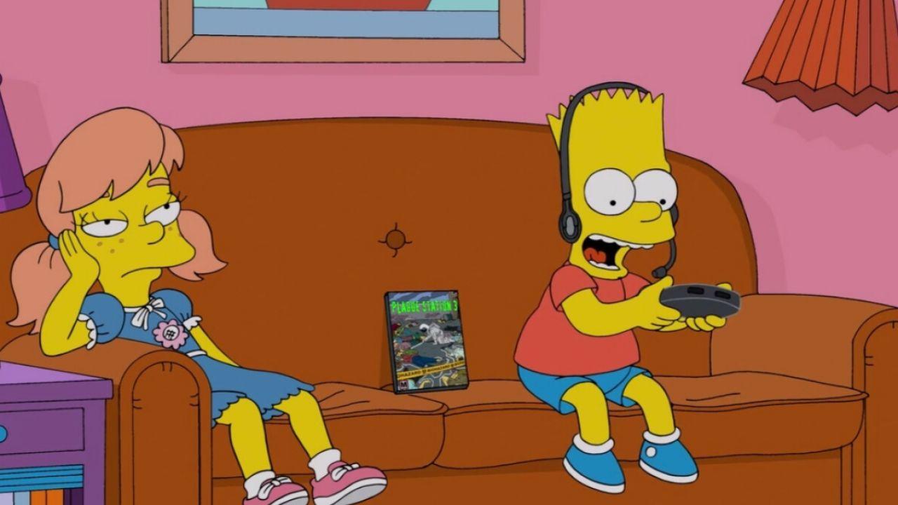 Bart Simpson jugando videojuegos