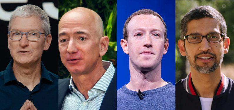 Tim Cook, Sundar Pichai, Jeff Bezos y Mark Zuckerberg