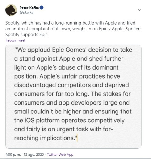 Spotify Epic Games Apple