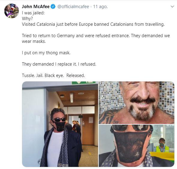 John McAfee arrestado en Alemania por usar tanga cubrebocas