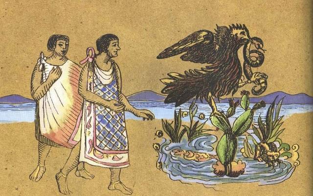 Mexicas Águila Parada Sobre Nopal