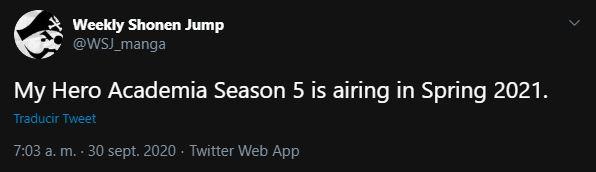 Revelada posible fecha de estreno de la 5ta temporada de My Hero Academia