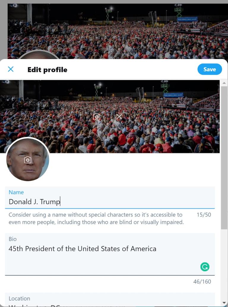 Captura de pantalla del interior de la cuenta
