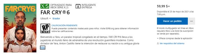 Microsoft Store filtra lanzamiento de Far Cry 6