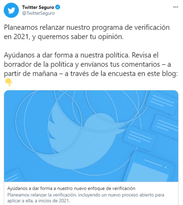 Twitter relanzará la verificación de cuentas