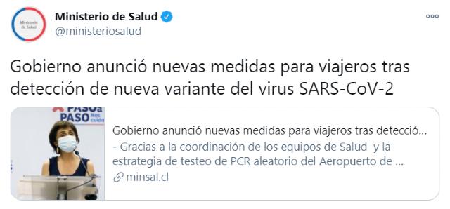 Chile confirma primer caso de coronavirus con la cepa de Reino Unido