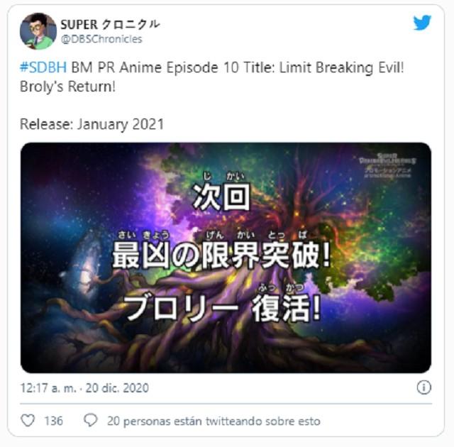 Título del nuevo episodio de Super Dragon Ball Heroes