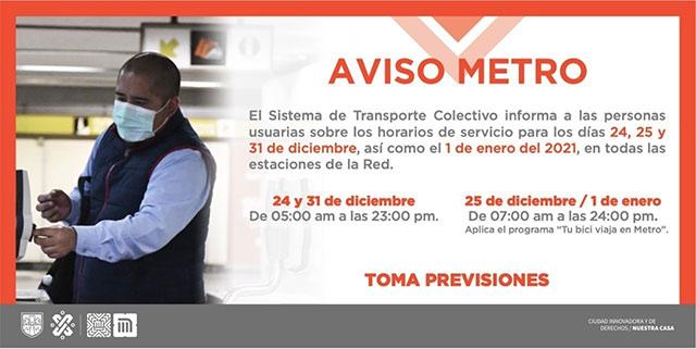 Horarios del Metro y Metrobús CDMX en Navidad y Año Nuevo