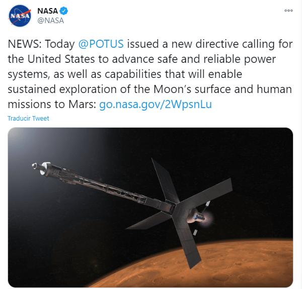 NASA podrá construir un reactor nuclear en la Luna