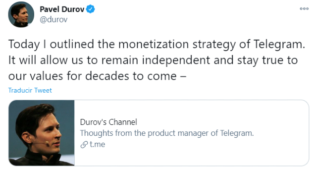 Telegram agregará funciones de paga