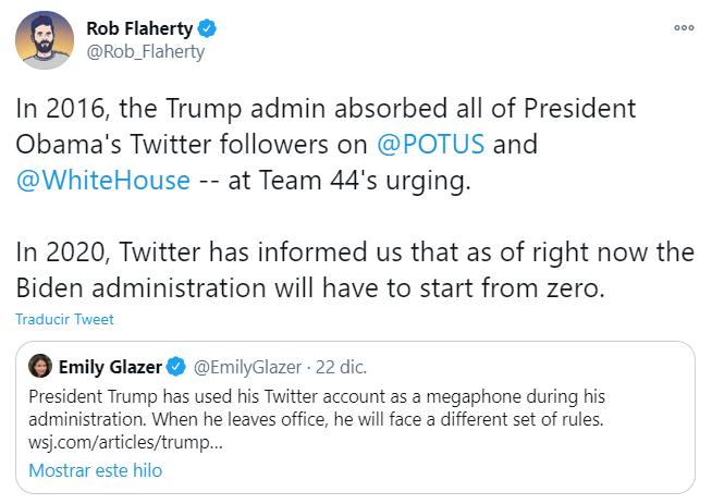 Twitter reestablecerá las cuentas presidenciales de Estados Unidos
