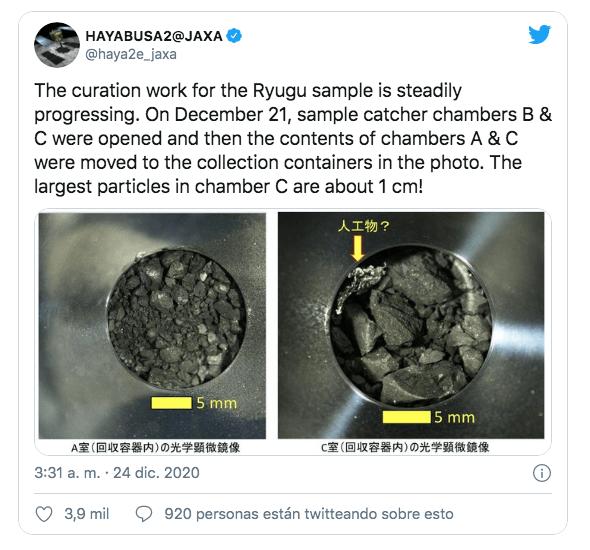 Científicos analizan muestras recogidas por Hayabusa 2 en el asteroide Ryugu