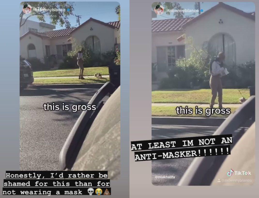 Mia Khalifa recoge popó de perro con su cubrebocas video