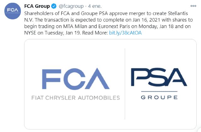 Fiat Chrysler se fusiona con Peugeot