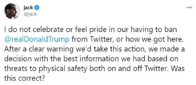 CEO de Twitter considera peligroso el veto a Trump