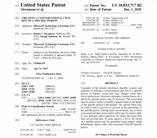 Microsoft patentó tecnología para revivir personas con chatbot