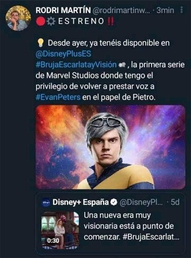 Quiksilver de X-Men aparecería en WandaVision según este actor de doblaje español
