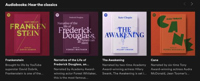 Spotify lanzó una colección de nueve audiolibros