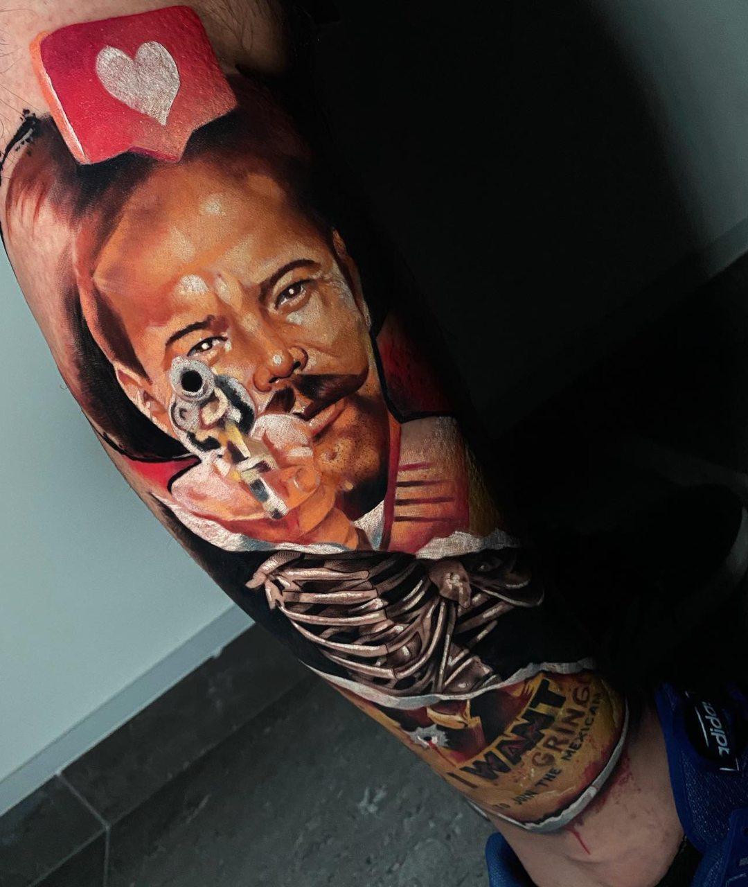 Tatuaje de Pancho Villa hecho por Armandean
